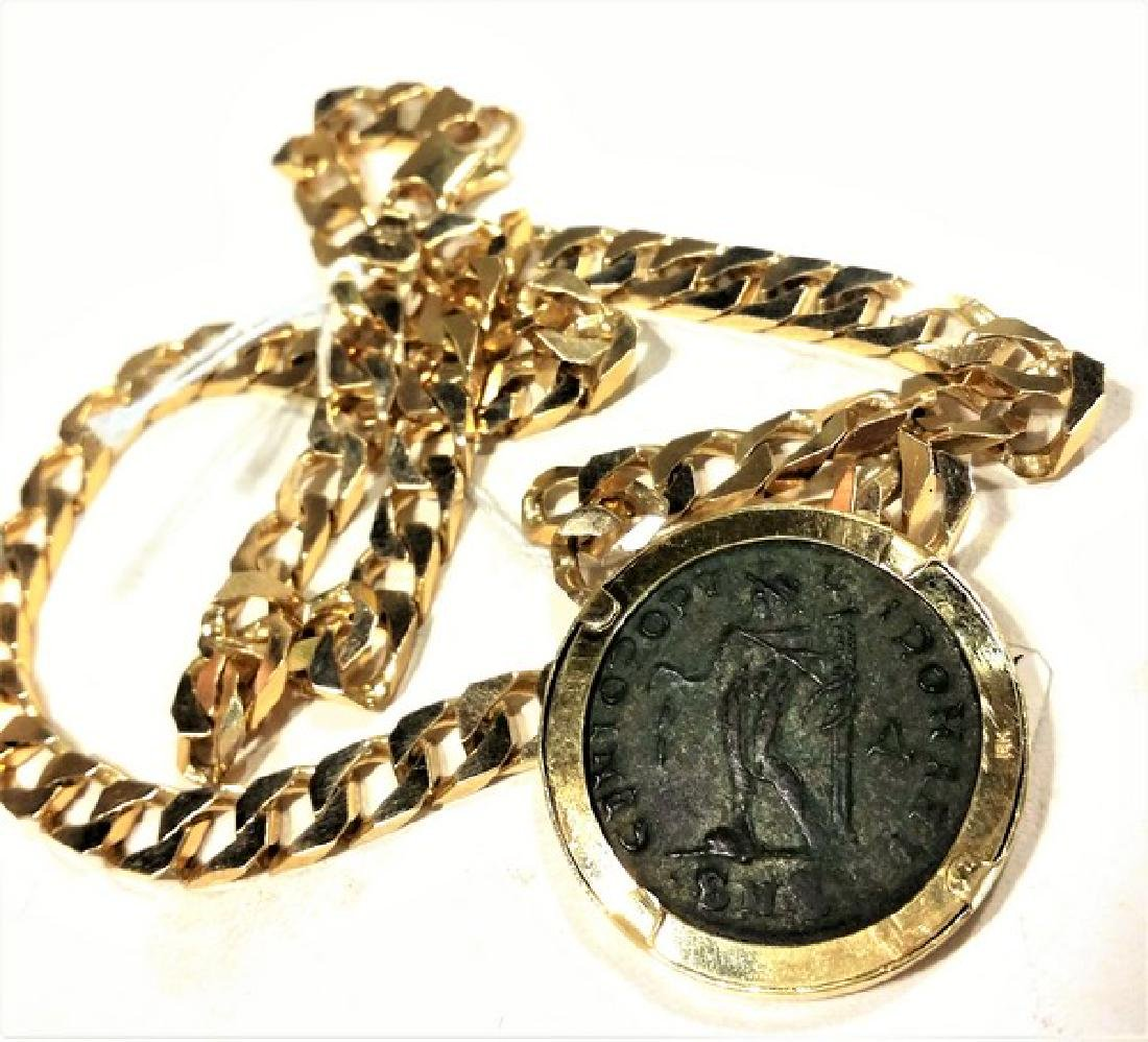 Ancient Roman Coin in 14K Gold w. Chain (Estate) - 3
