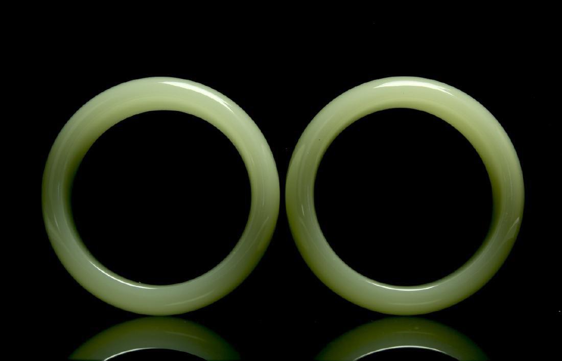 Pair Pale Celadon Jade Bangles - 2
