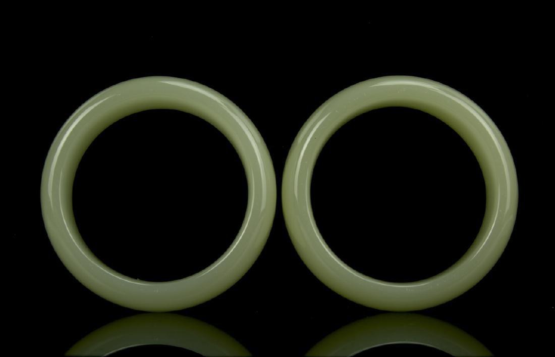 Pair Pale Celadon Jade Bangles - 3