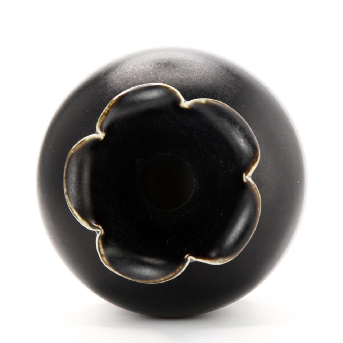 Black Glazed Ting Baluster Vase - 3