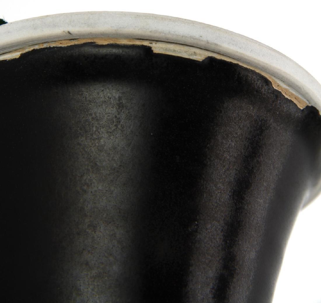 Black Glazed Ting Baluster Vase - 8
