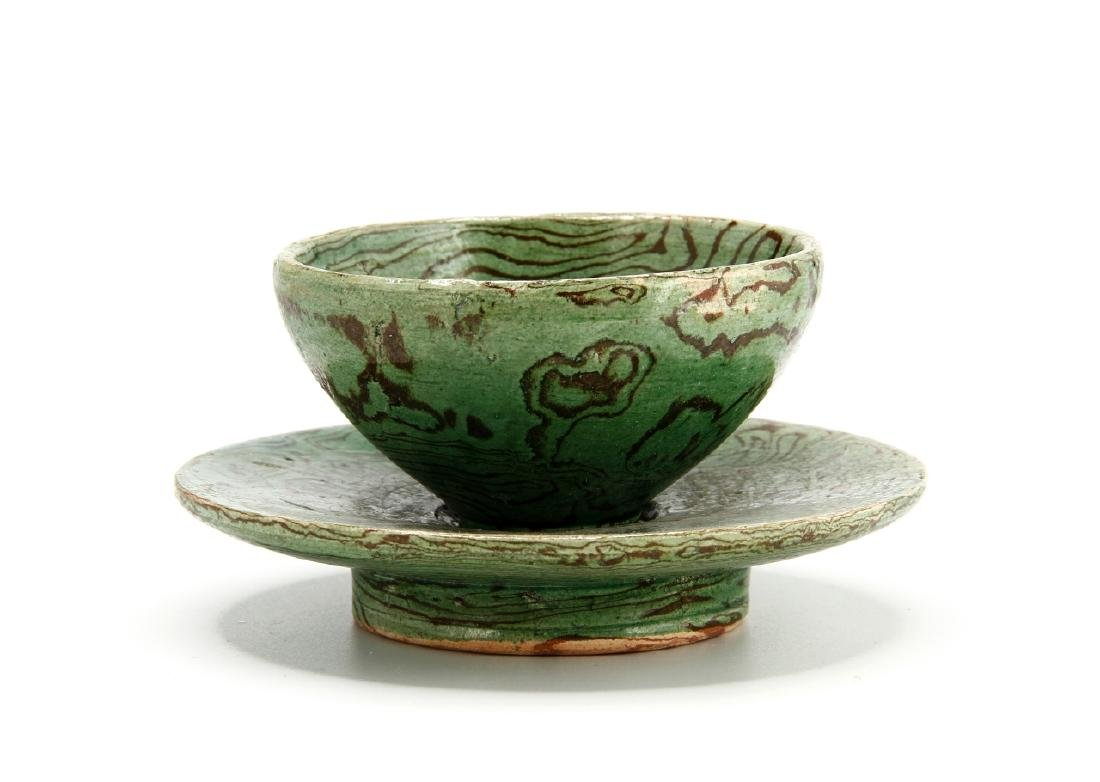 Rare Green Marbled Cupstand - 2