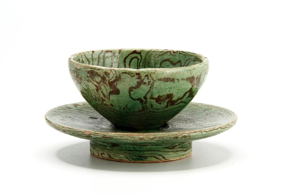 Rare Green Marbled Cupstand - 3