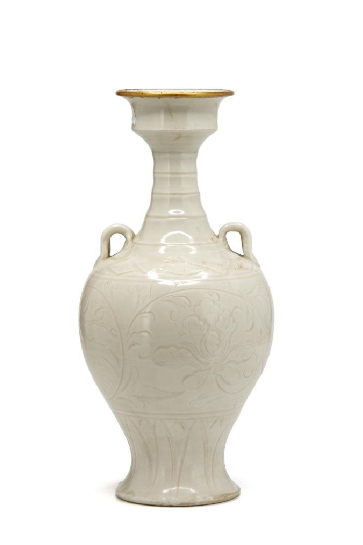 Chinese Carved Ting Ware Baluster Vase