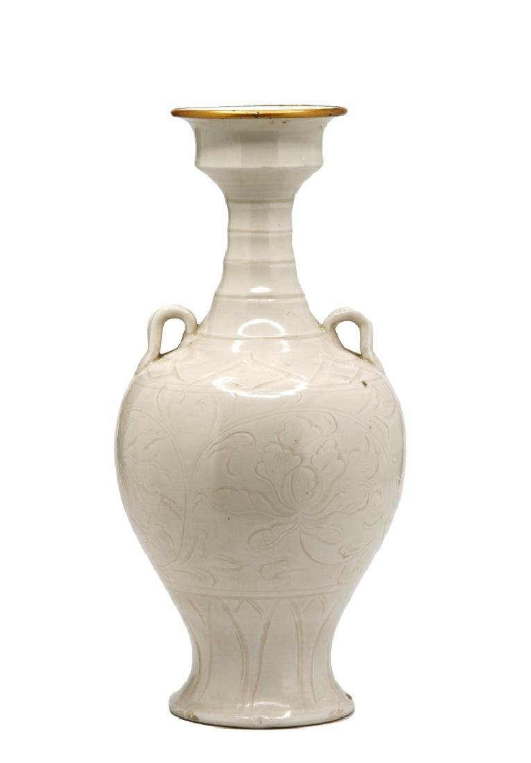 Chinese Carved Ting Ware Baluster Vase - 3