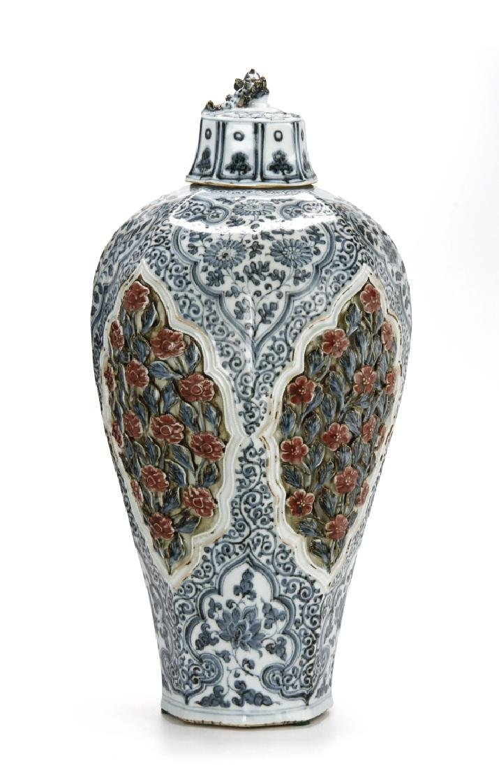 Large Blue/White Faceted Baluster Vase, Ming - 13