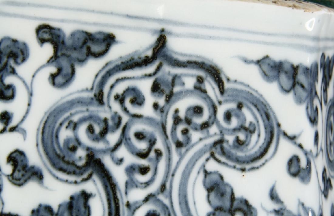 Large Blue/White Faceted Baluster Vase, Ming - 19