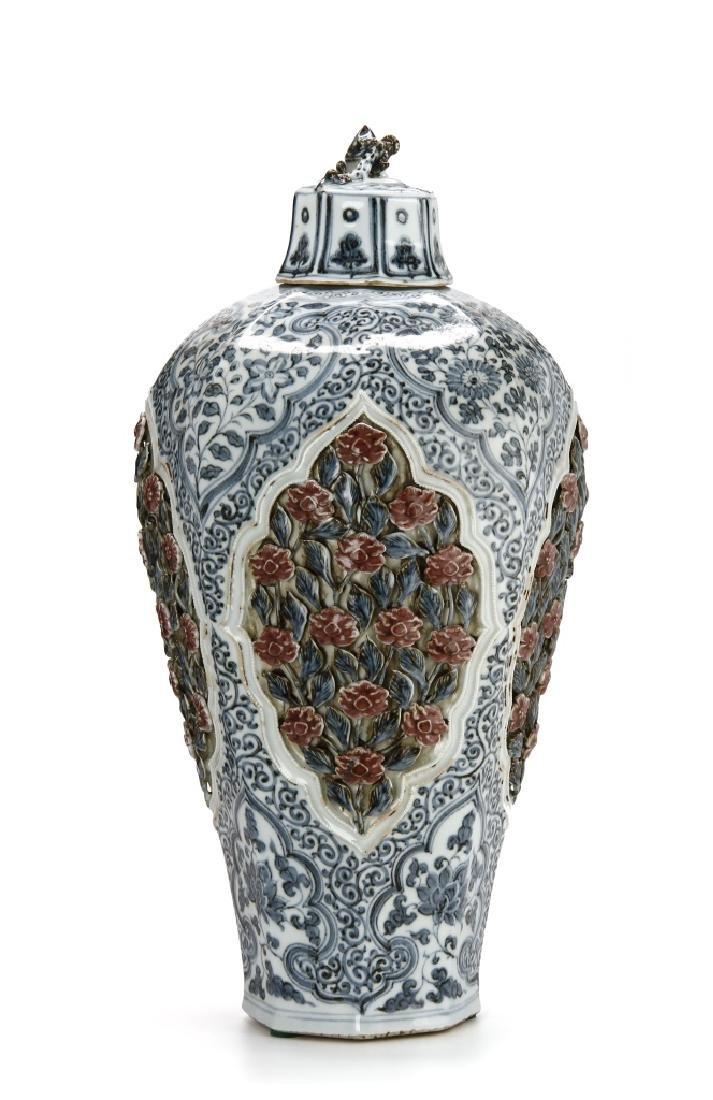 Large Blue/White Faceted Baluster Vase, Ming