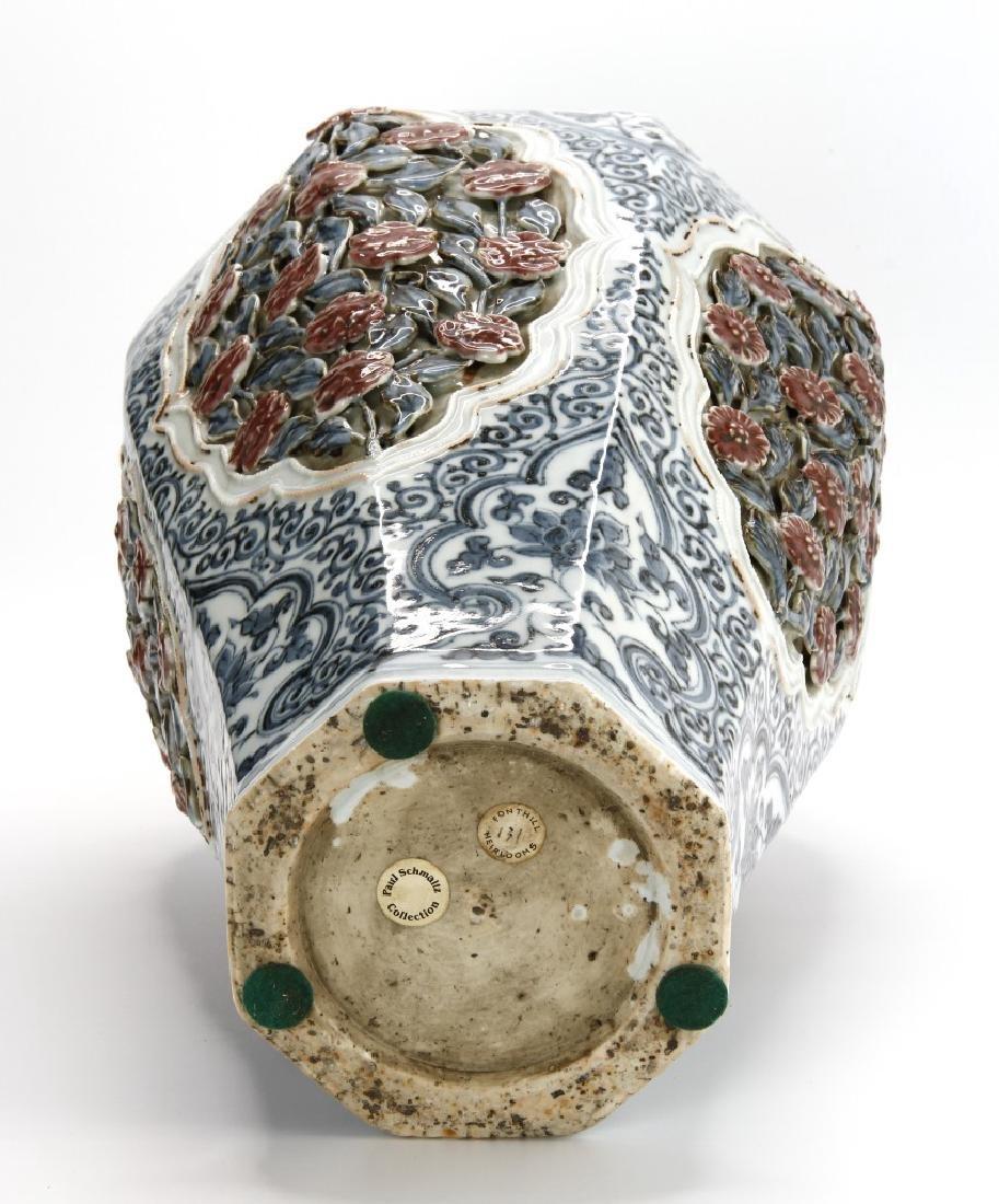 Large Blue/White Faceted Baluster Vase, Ming - 5