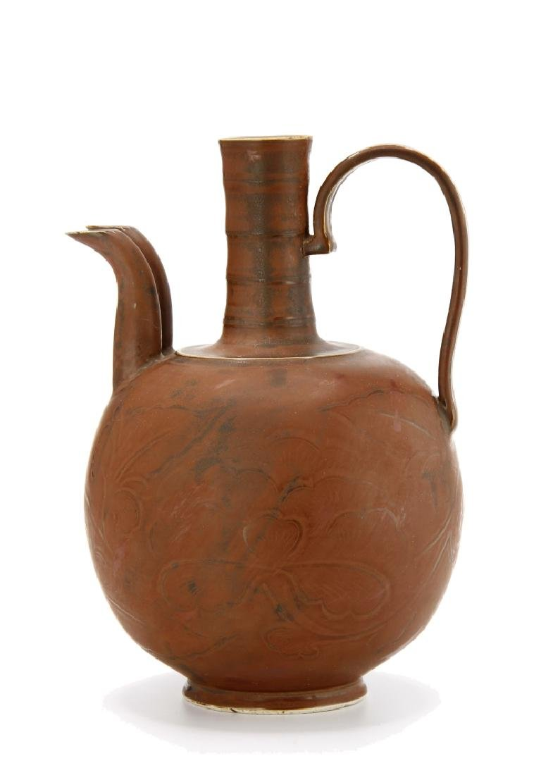 Chinese Persimmon Glazed Ting Ewer