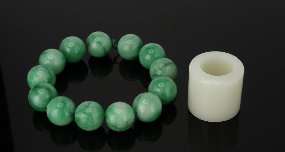 Jadeite Bracelet and Hardstone Archer Ring