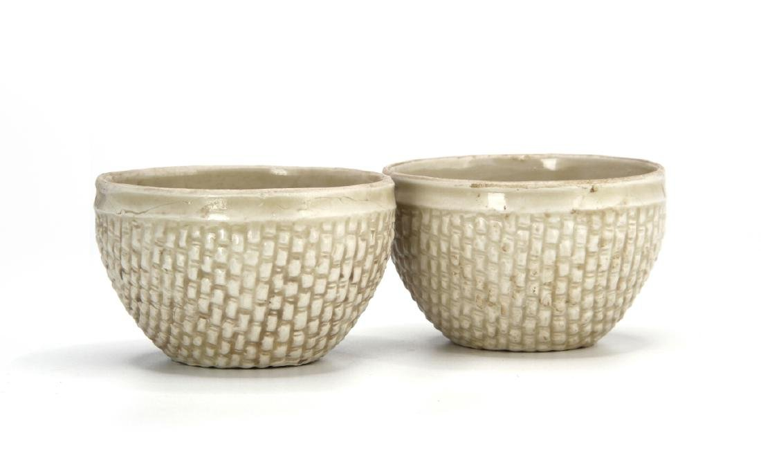 Pair Ting White Basket-Waved Cups, Sung