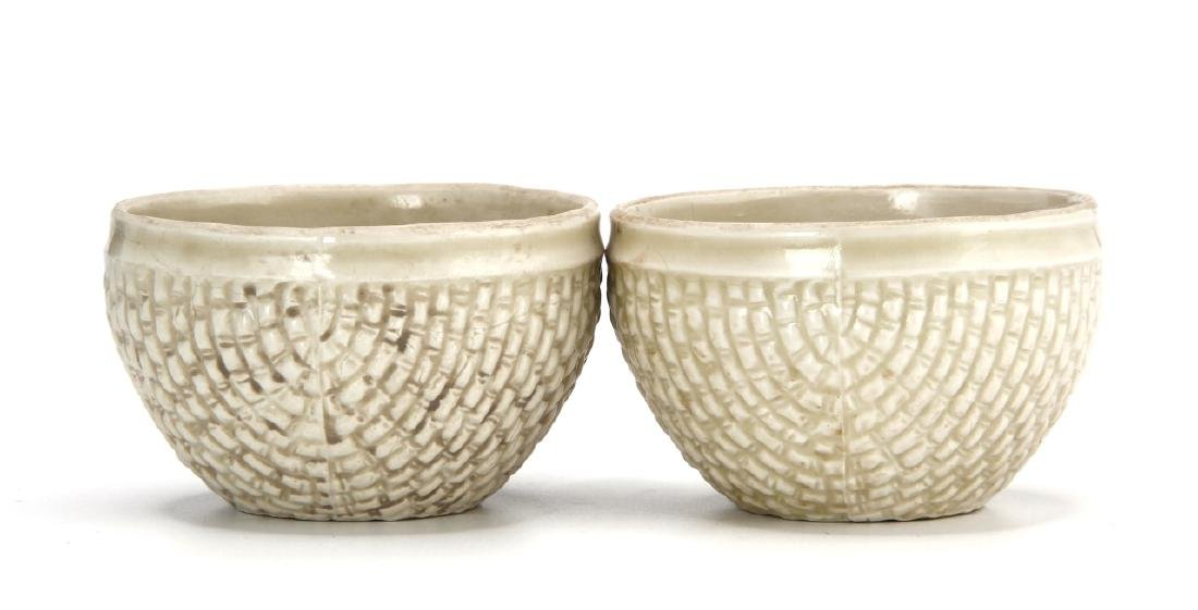 Pair Ting White Basket-Waved Cups, Sung - 2