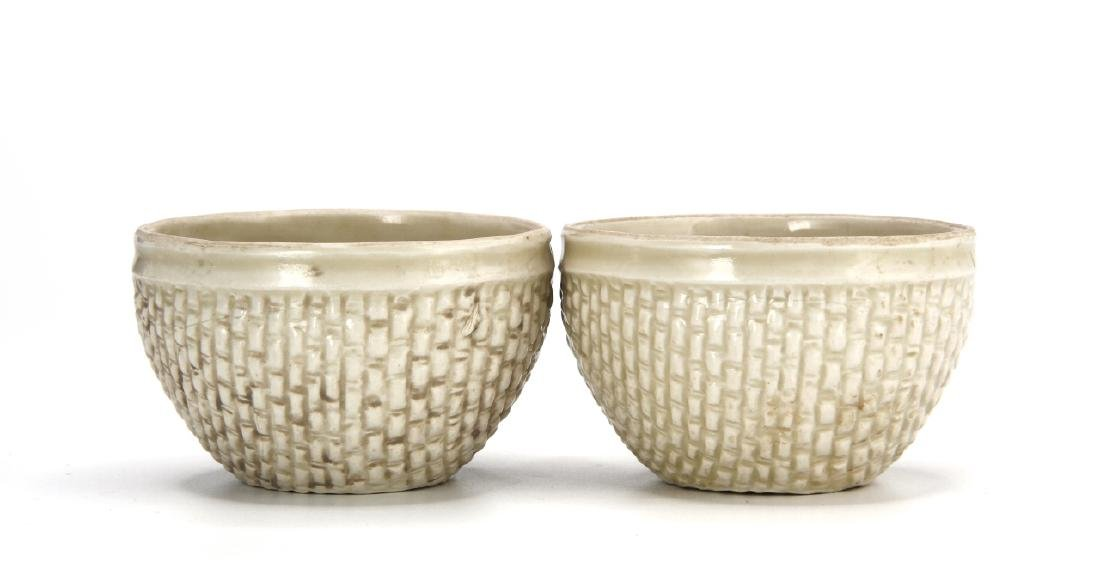 Pair Ting White Basket-Waved Cups, Sung - 3