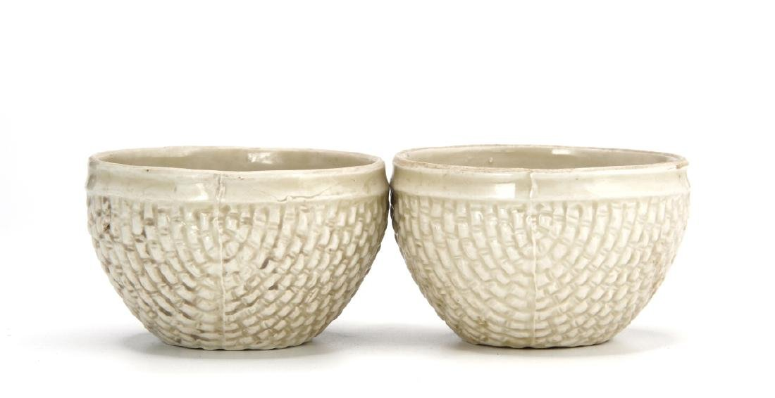 Pair Ting White Basket-Waved Cups, Sung - 4