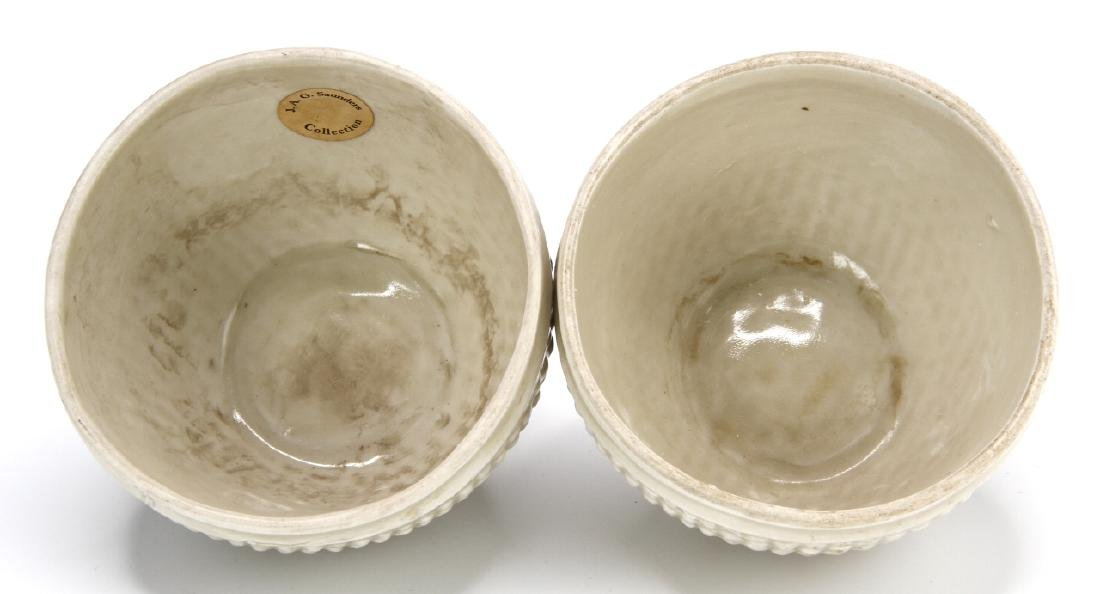 Pair Ting White Basket-Waved Cups, Sung - 5