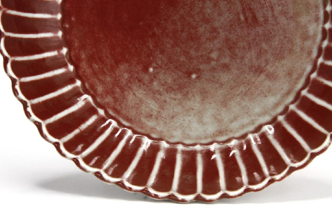 Copper Red Glazed Chrysanthemum Dish, Ming - 4