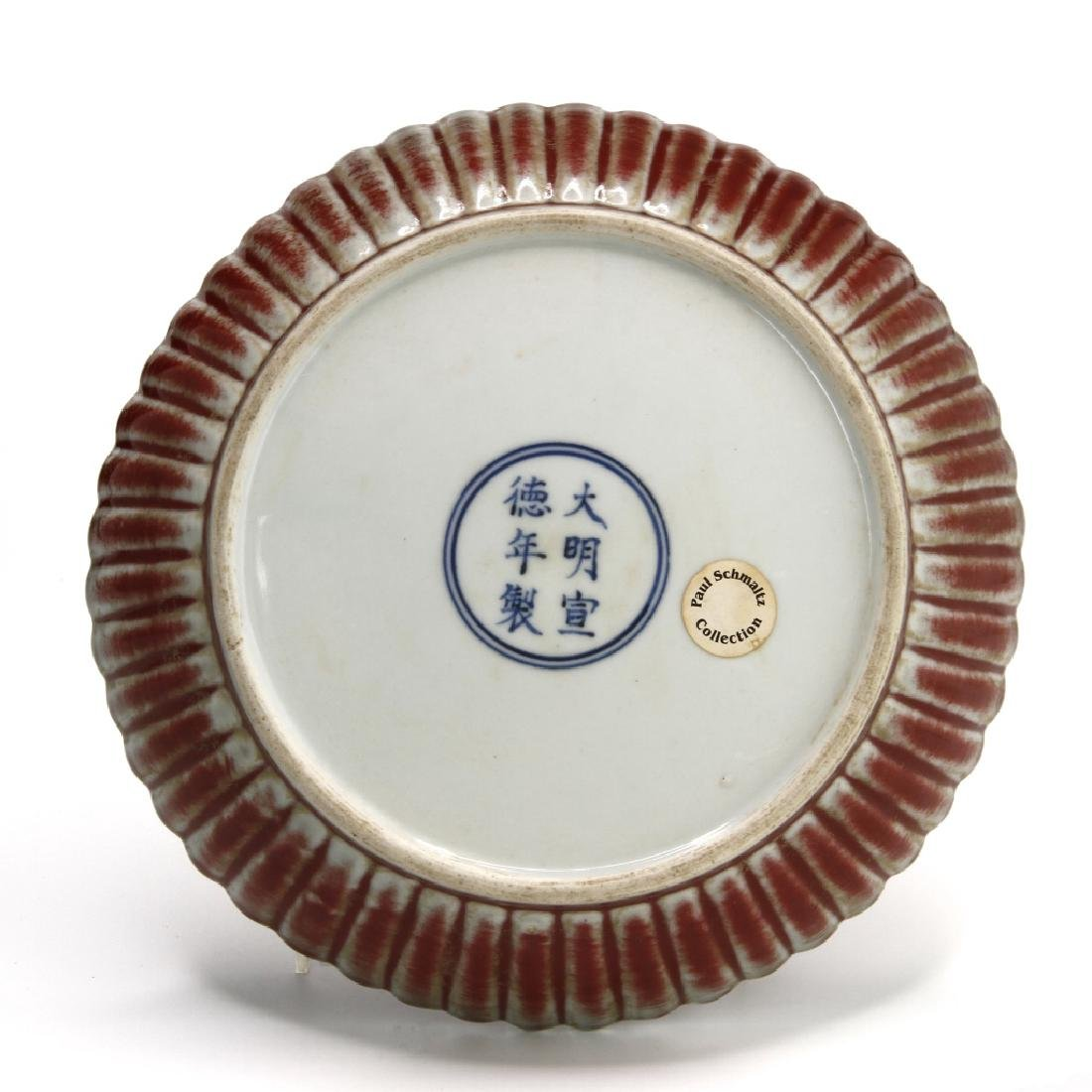 Copper Red Glazed Chrysanthemum Dish, Ming - 5