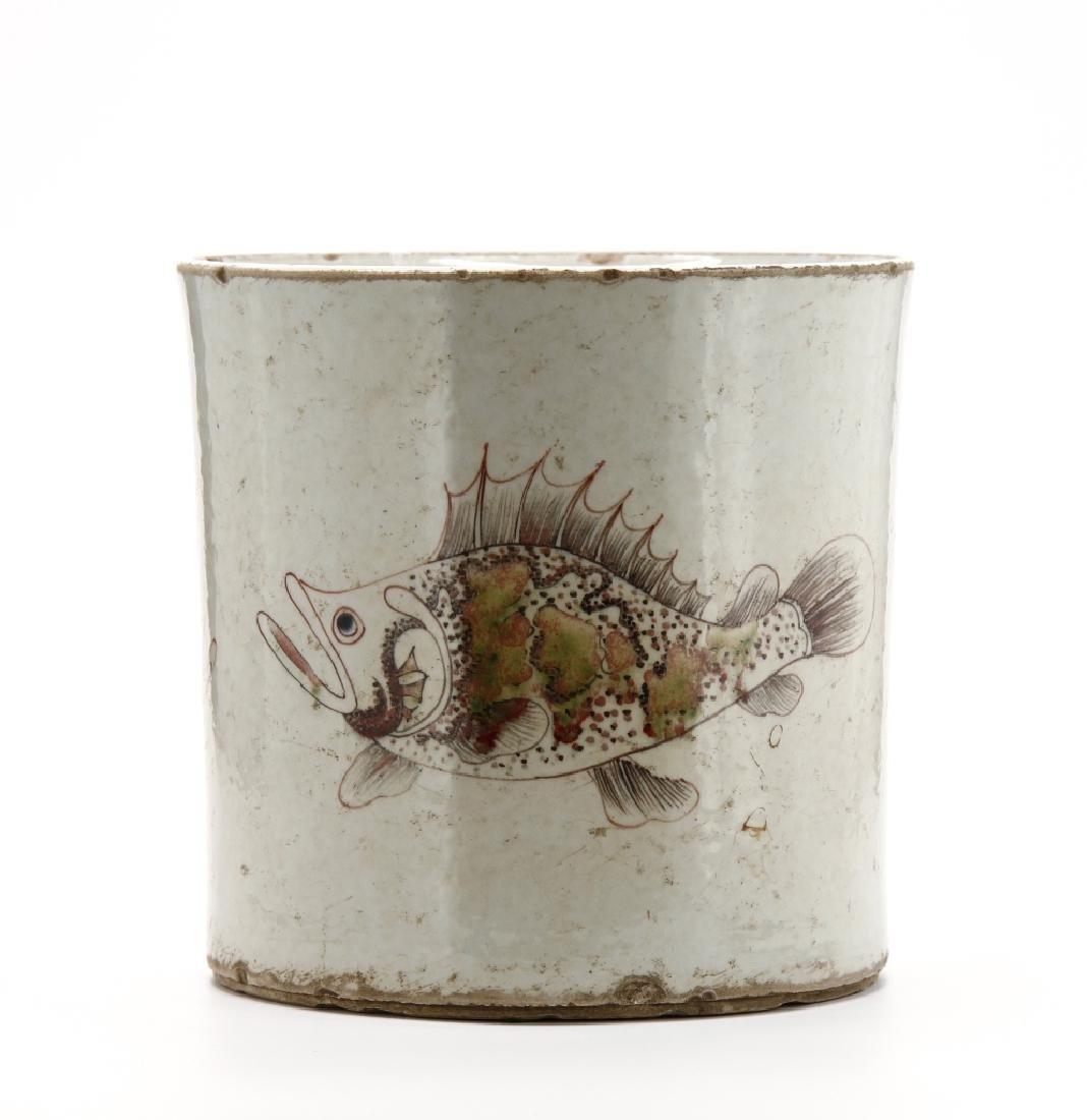 Chinese Peachbloom Brushpot, Early Ching