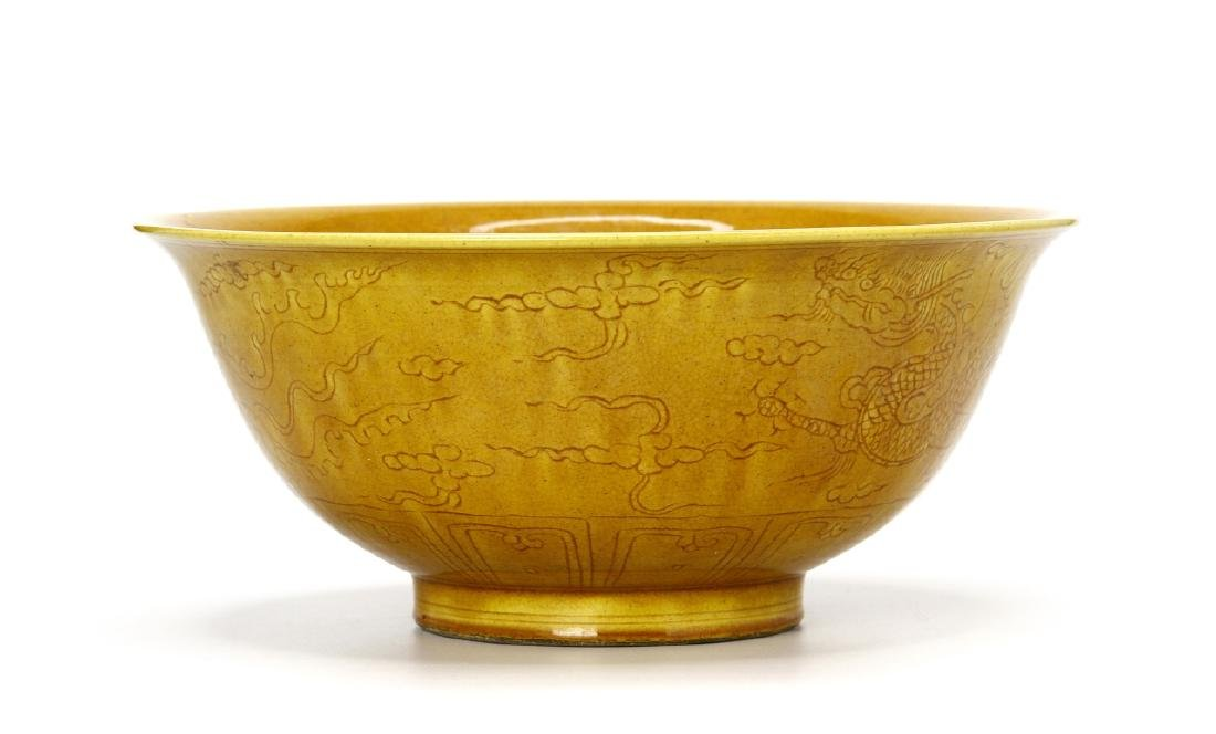Chinese Yellow Glazed Bowl - 2