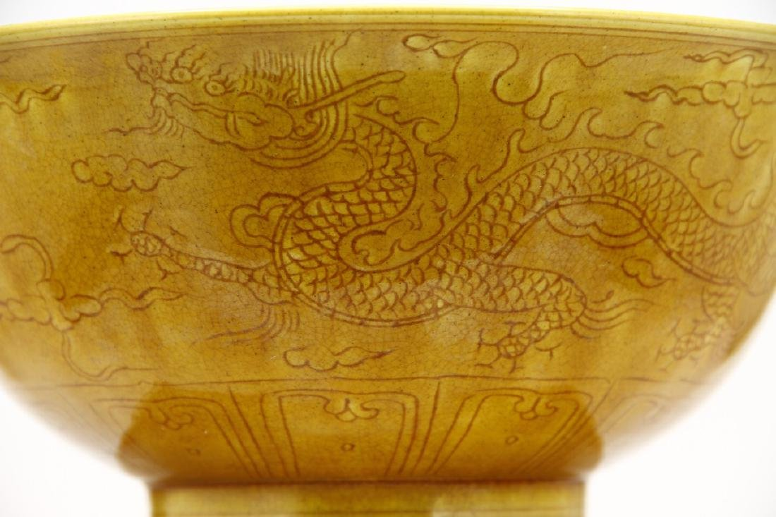Chinese Yellow Glazed Bowl - 9