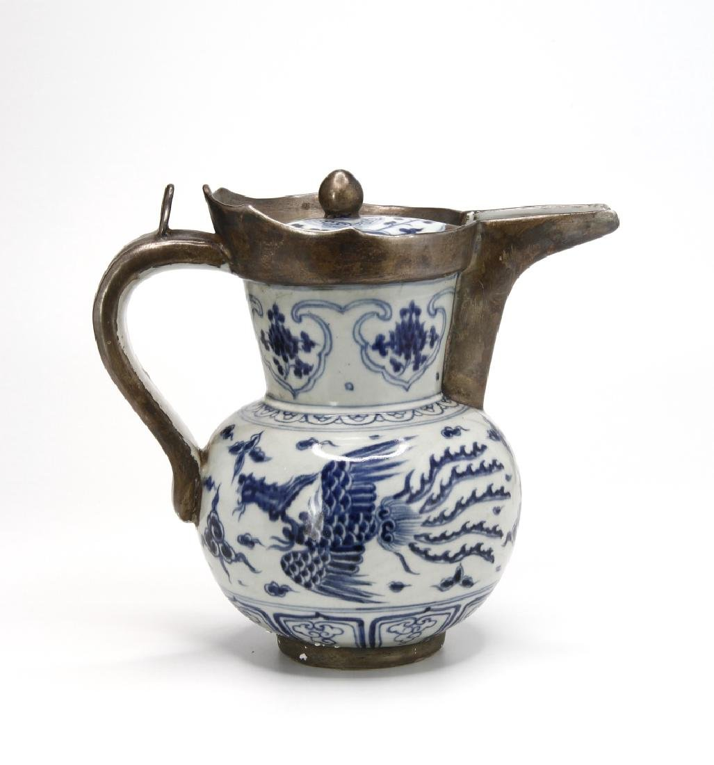Ming Style Blue and White Monk's Cap Ewer - 3