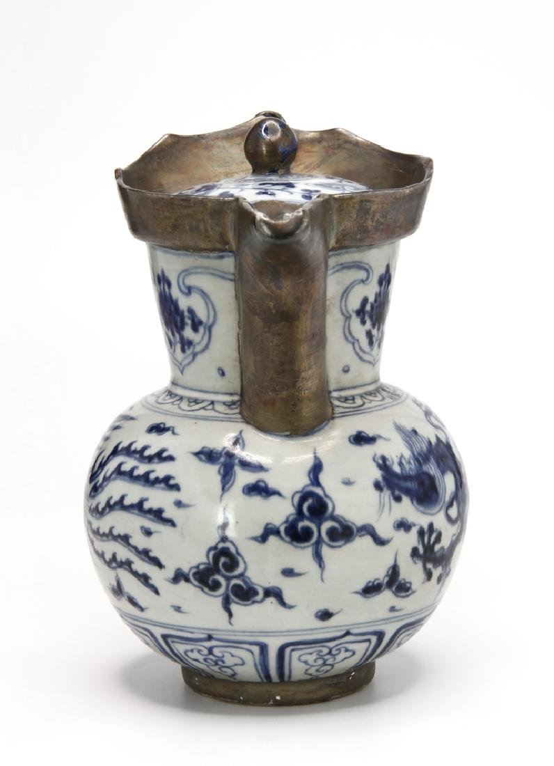 Ming Style Blue and White Monk's Cap Ewer - 4