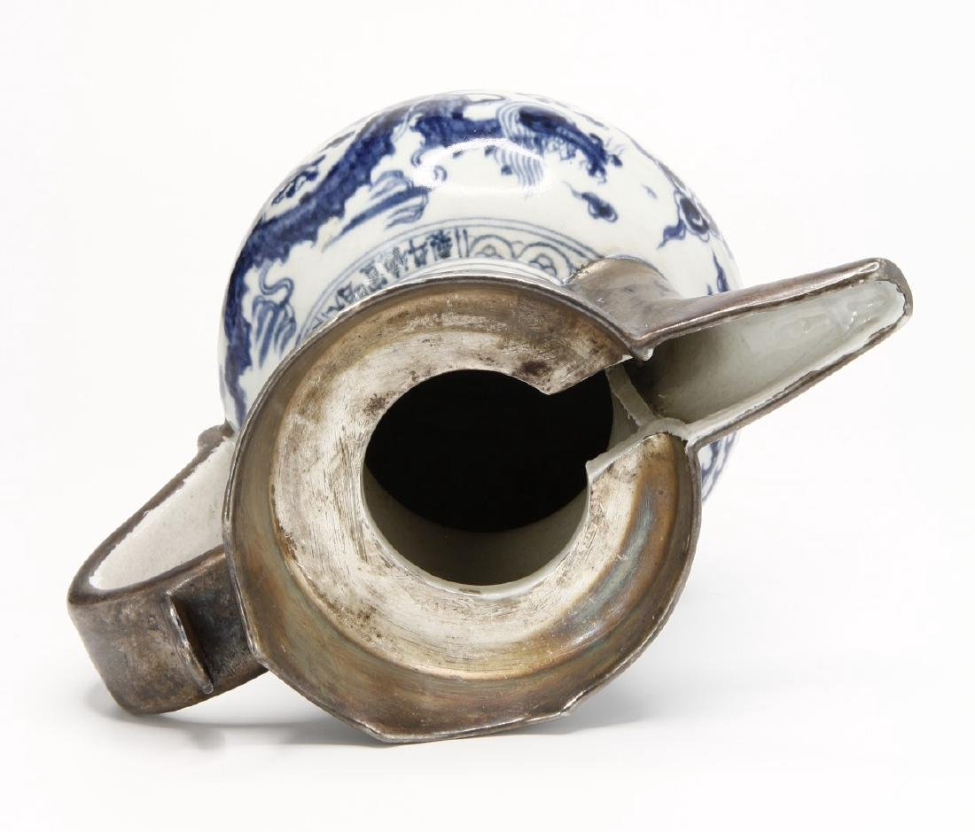 Ming Style Blue and White Monk's Cap Ewer - 5