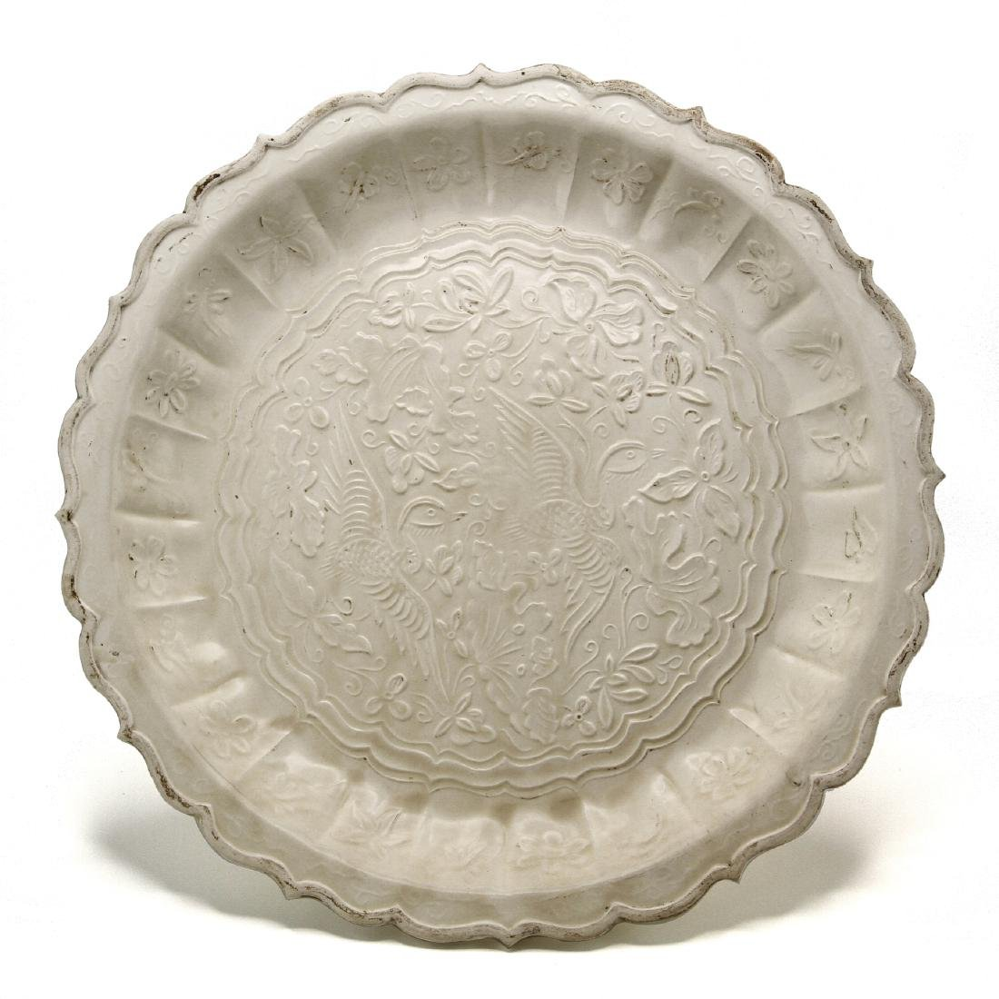 Large Tingyao Molded Foliate-Rim Dish
