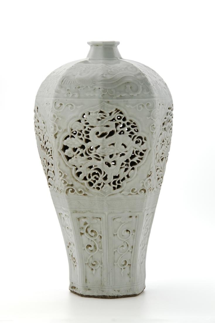 Chinese Large Reticulated Baluster Vase