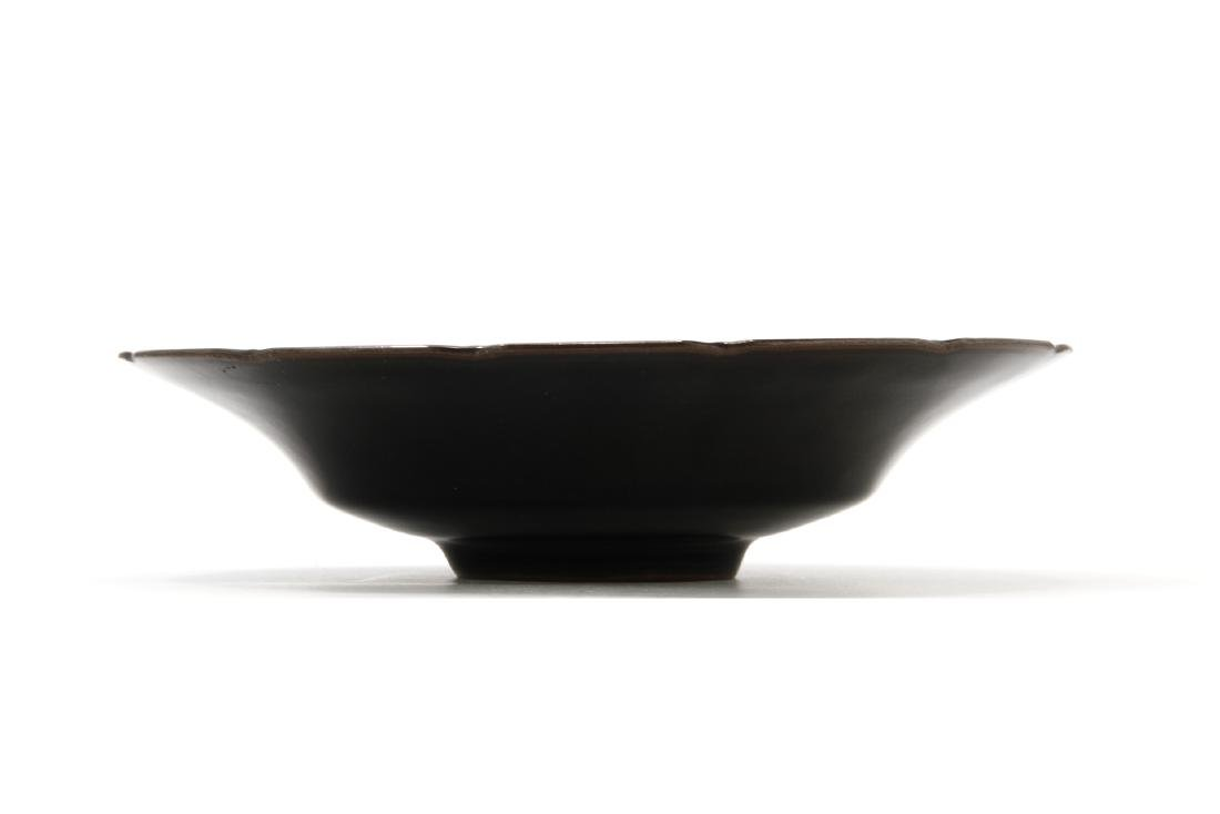 Rare Black Glazed Ting Foliate Dish