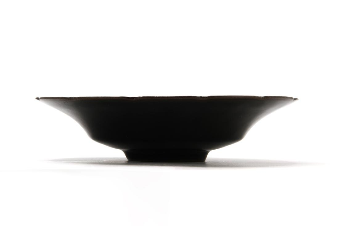 Rare Black Glazed Ting Foliate Dish - 2