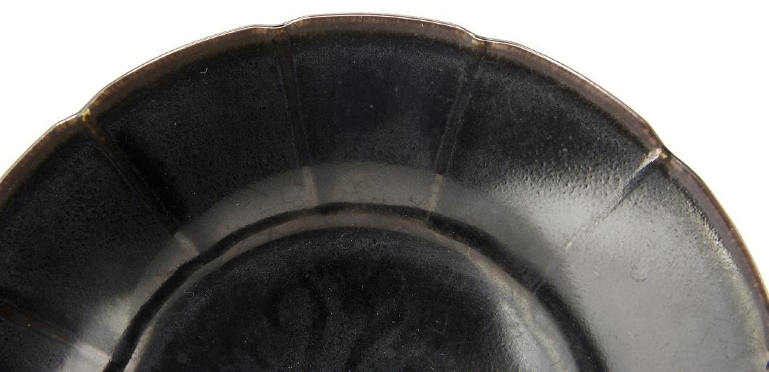 Rare Black Glazed Ting Foliate Dish - 5