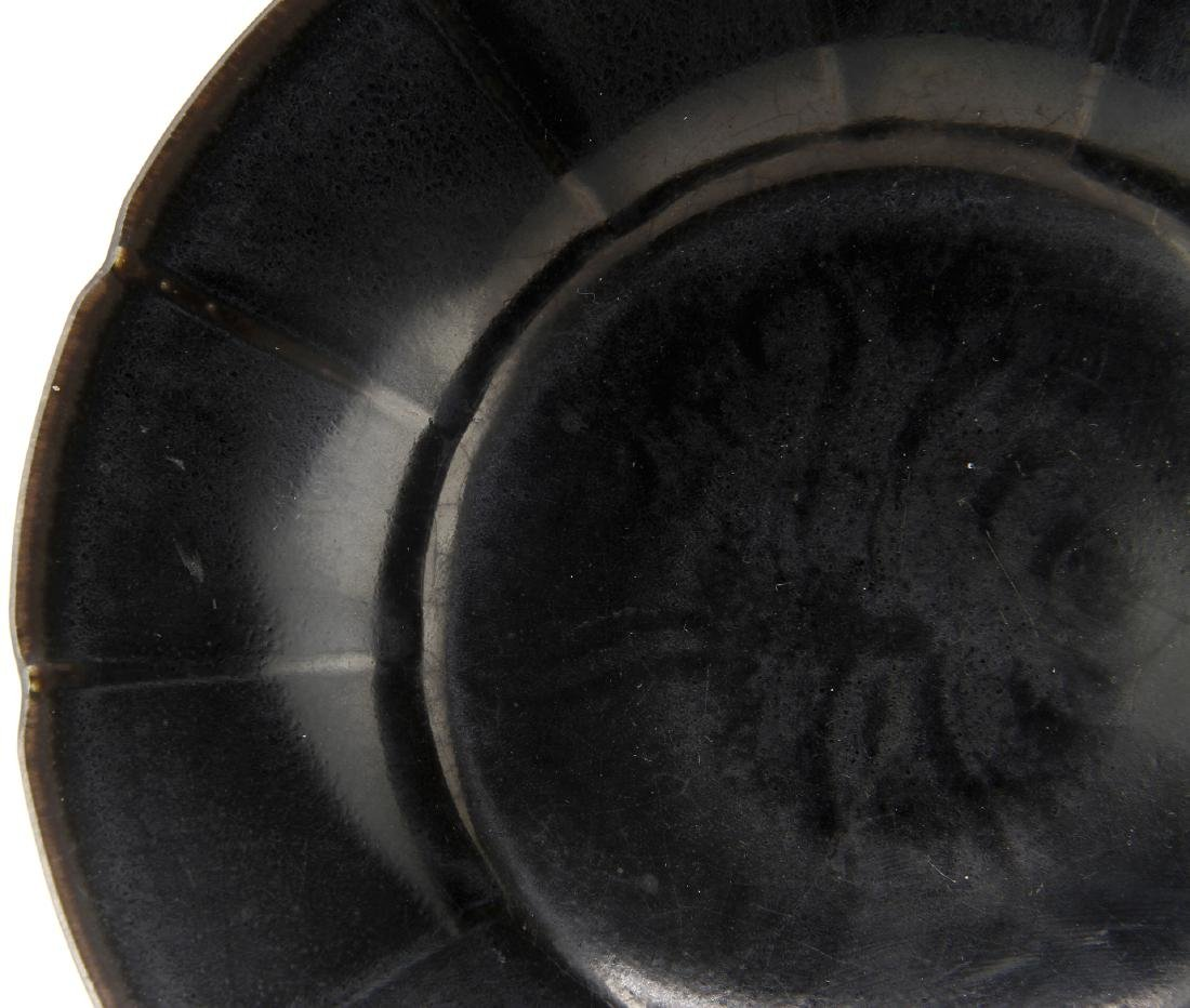 Rare Black Glazed Ting Foliate Dish - 6