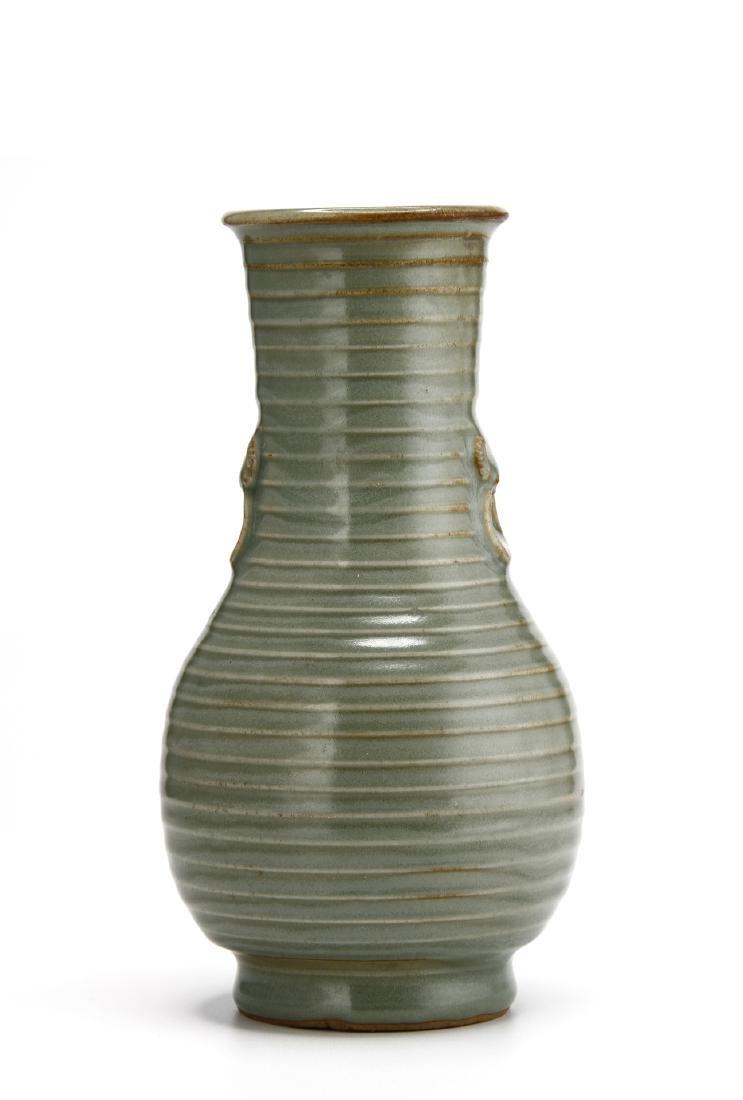 "Rare Lungchuan Celadon Grooved ""Hu"" Vase"
