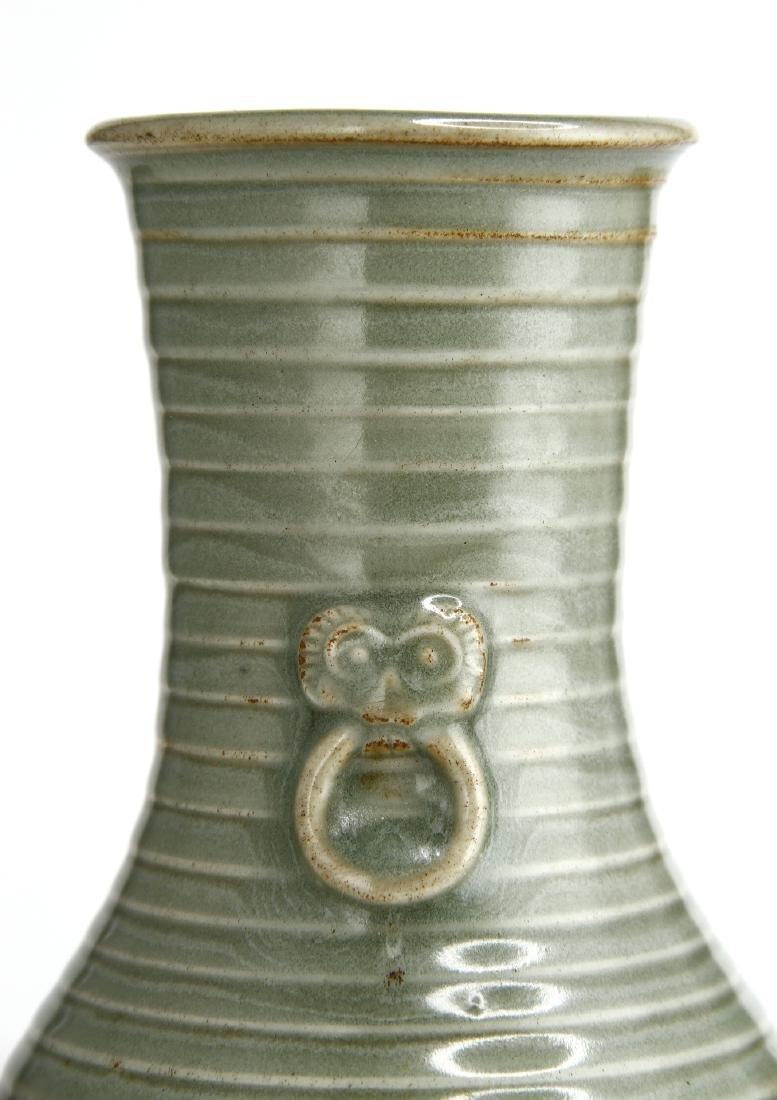 "Rare Lungchuan Celadon Grooved ""Hu"" Vase - 5"
