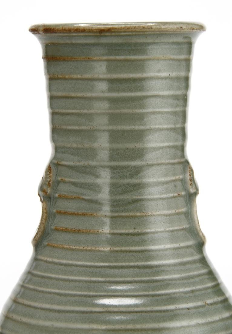 "Rare Lungchuan Celadon Grooved ""Hu"" Vase - 6"