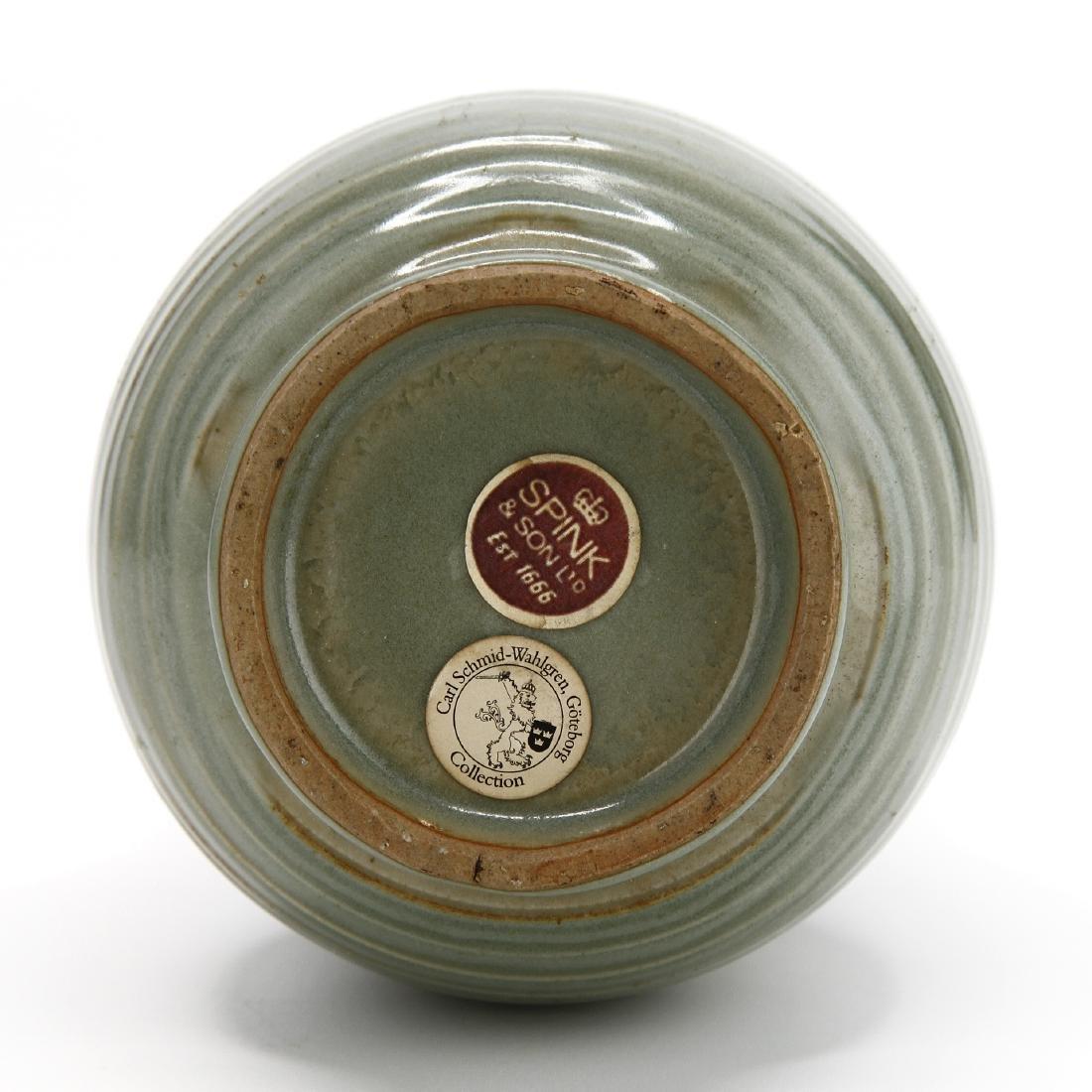 "Rare Lungchuan Celadon Grooved ""Hu"" Vase - 8"
