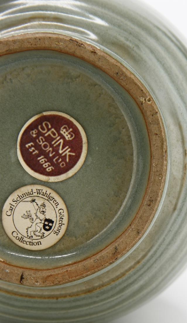 "Rare Lungchuan Celadon Grooved ""Hu"" Vase - 9"