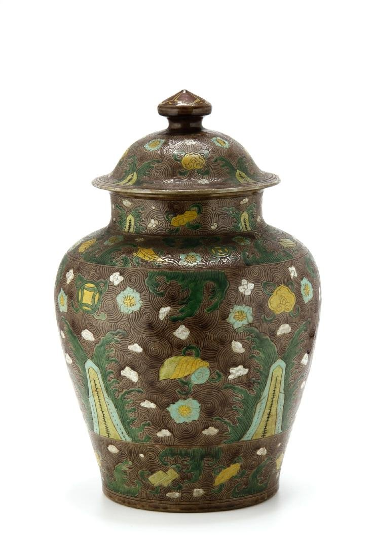 Large Famille Verte Jar and Cover