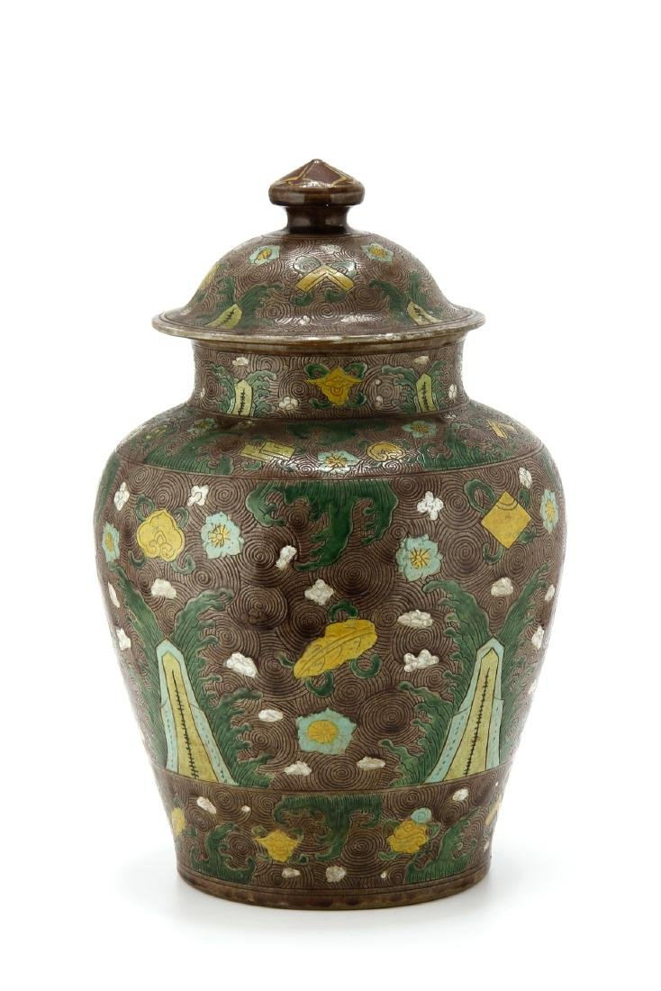 Large Famille Verte Jar and Cover - 2