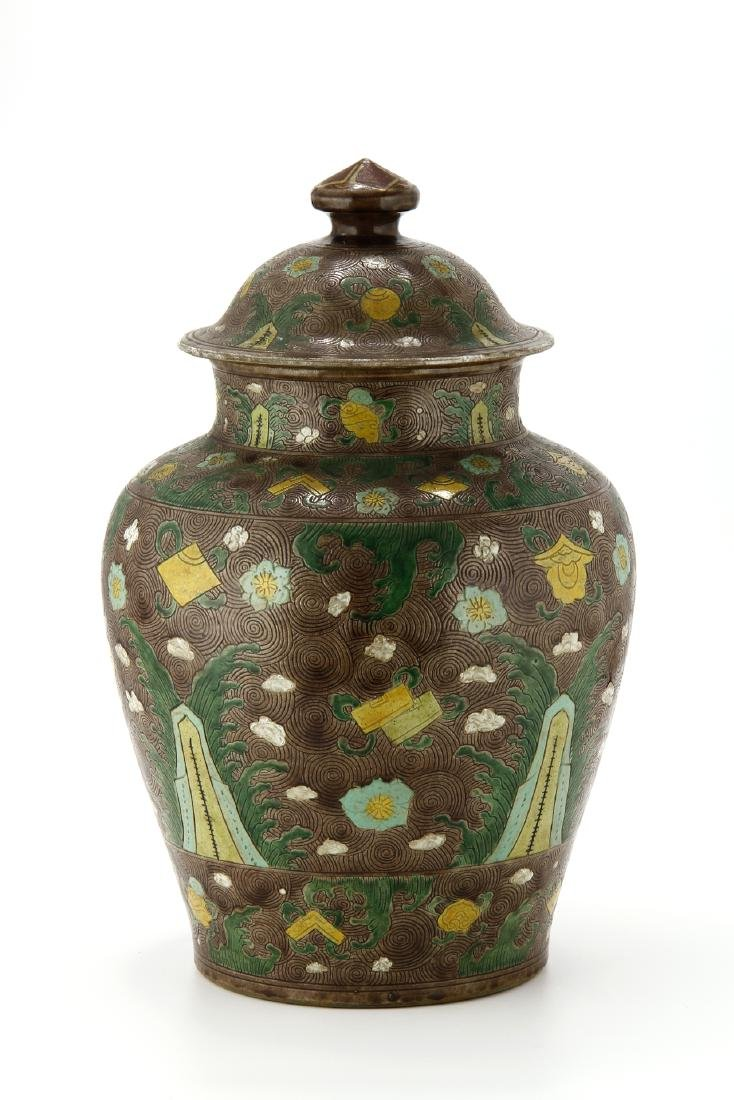Large Famille Verte Jar and Cover - 3