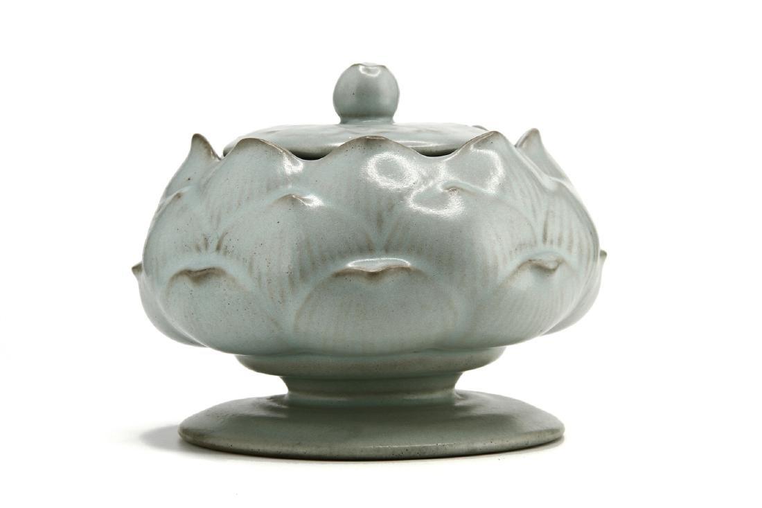 Rare Guan-Type Lotus Form Incense Burner/Cover - 2