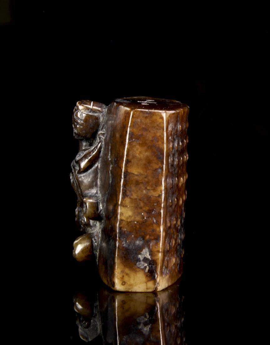 Brown and Black Archaistic Jade Pendant - 3