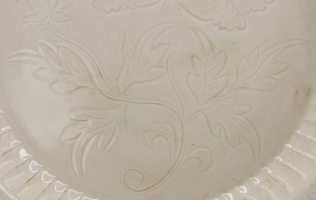 Large Carved Ting Peony Dish - 10