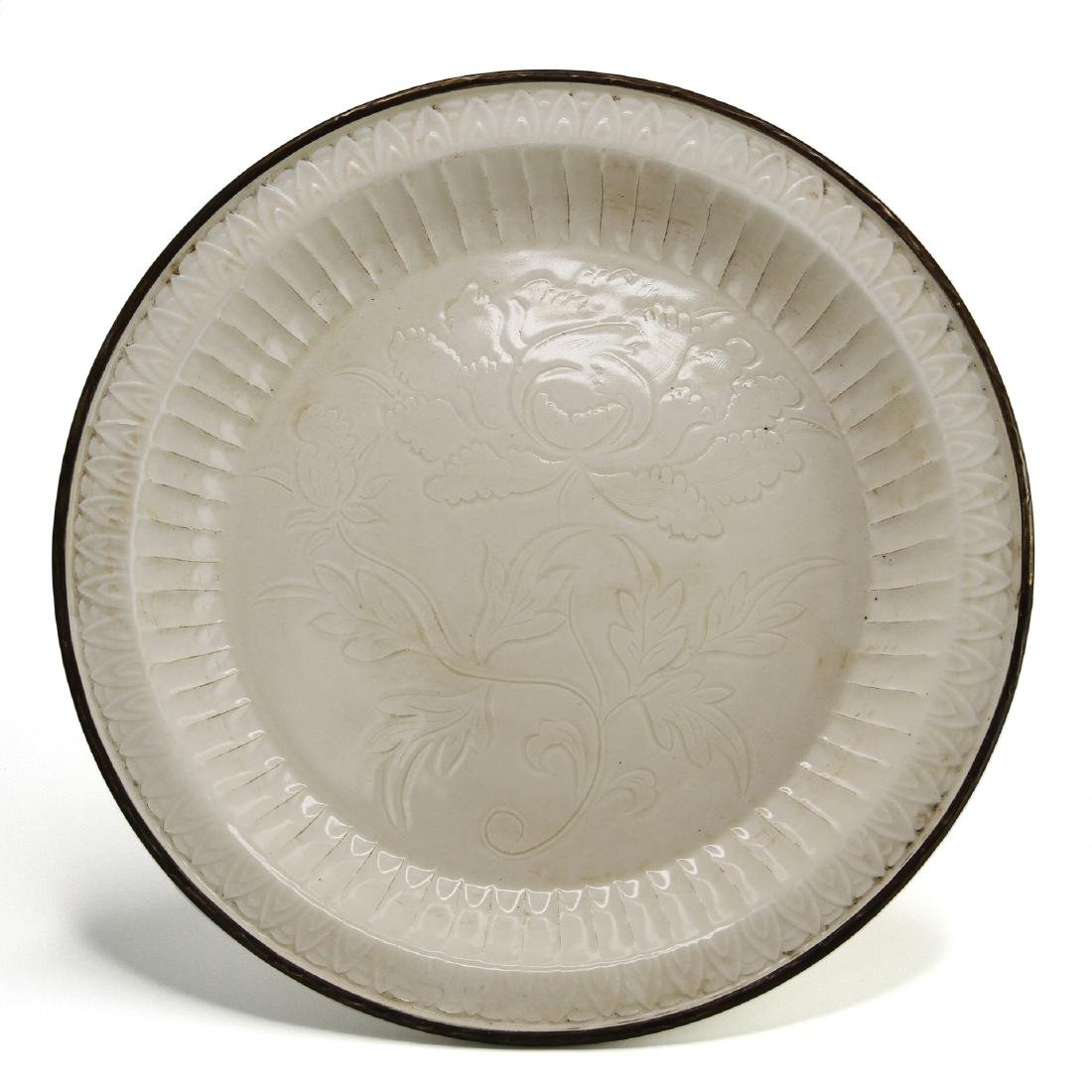 Large Carved Ting Peony Dish