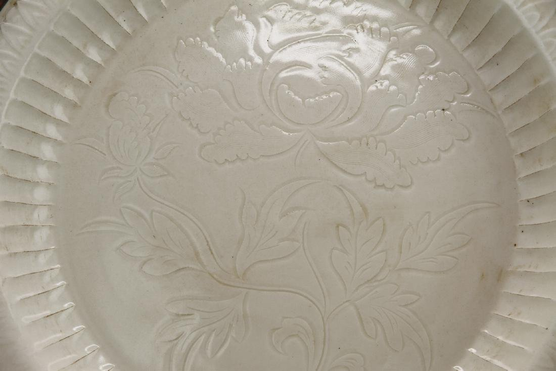 Large Carved Ting Peony Dish - 2