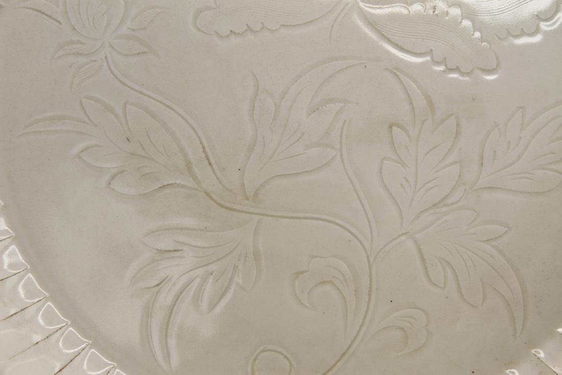 Large Carved Ting Peony Dish - 3