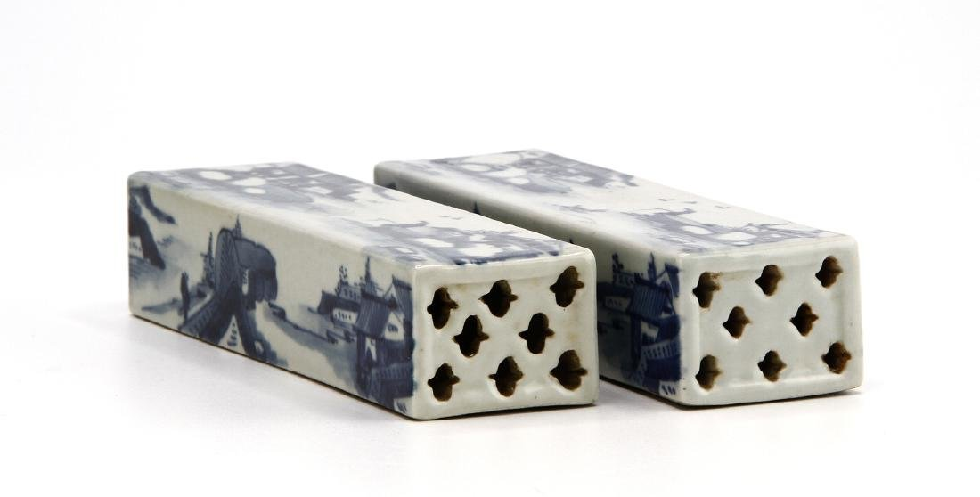 Pair of Blue and White Scroll Weights - 5