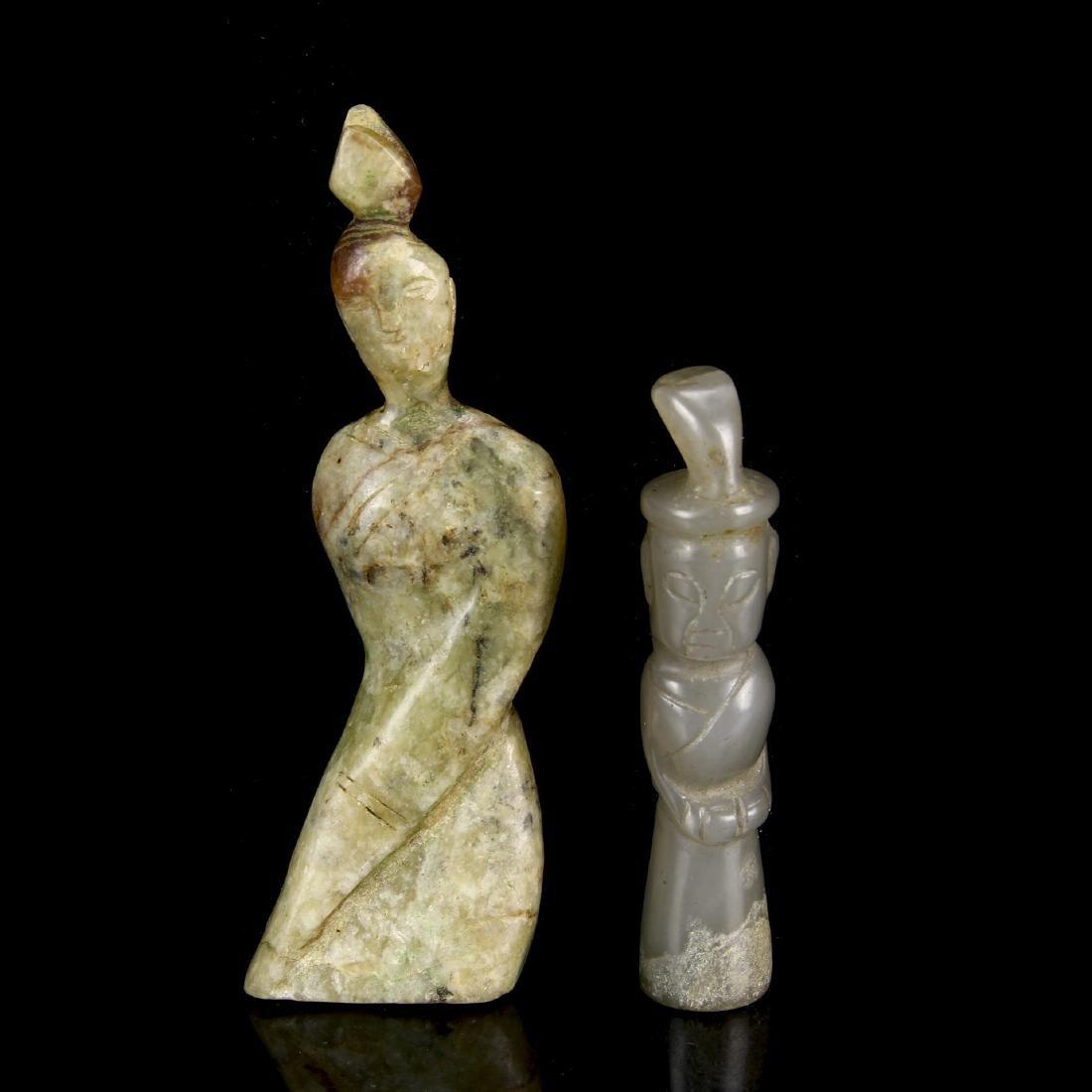 Two Jade Standing Figures